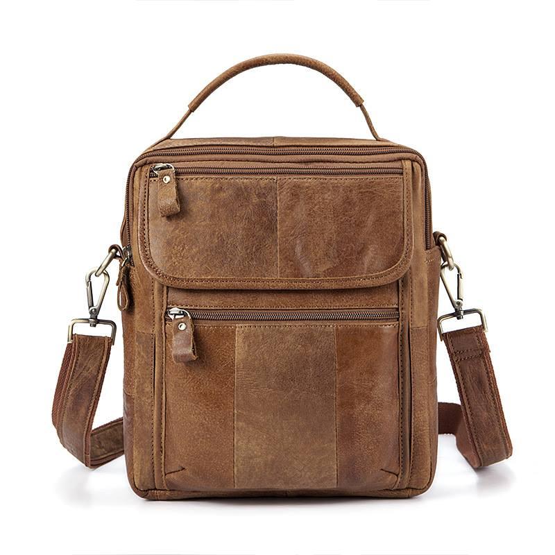 Túi đeo chéo nam da thật giá rẻ có quai xách tay KT41 vàng bò