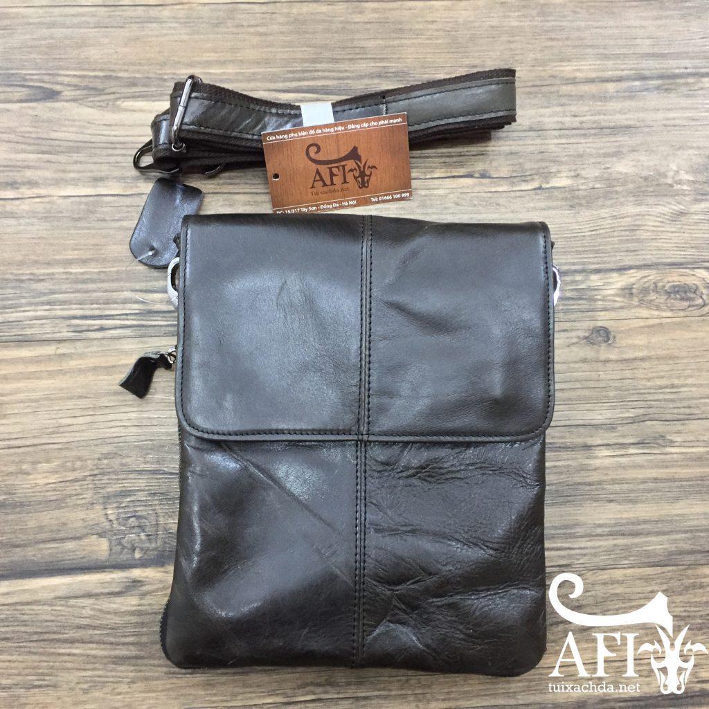 Túi đeo chéo nam da thật siêu mỏng giá rẻ KT35 màu đen