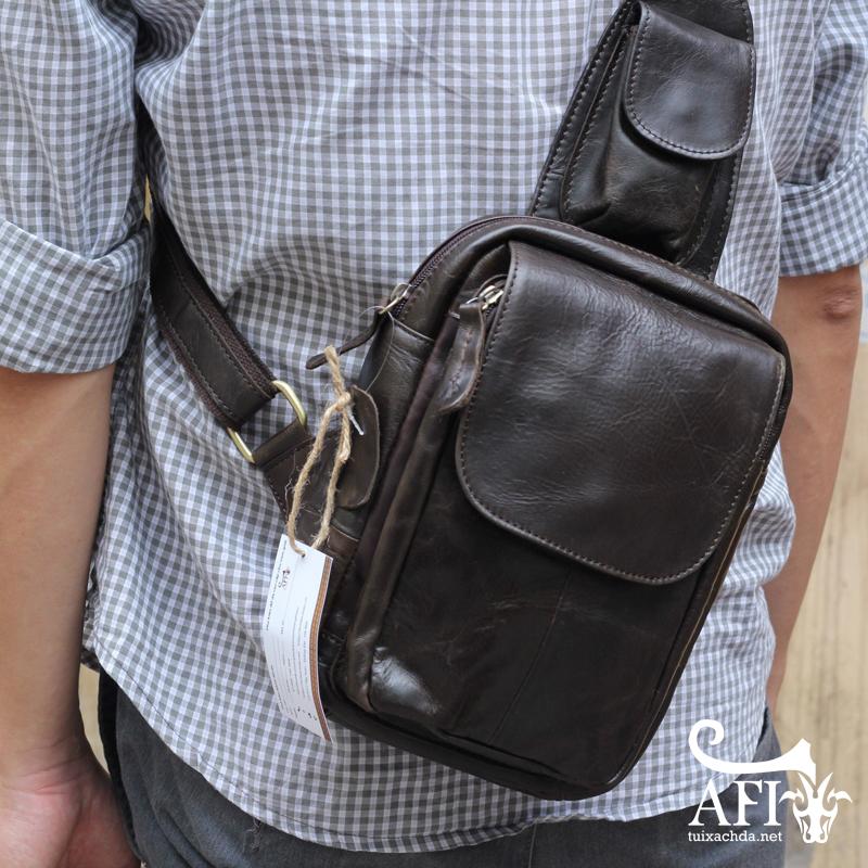 Túi đeo lưng nam thời trang da thật đựng iPad mini tdl10 đen 2