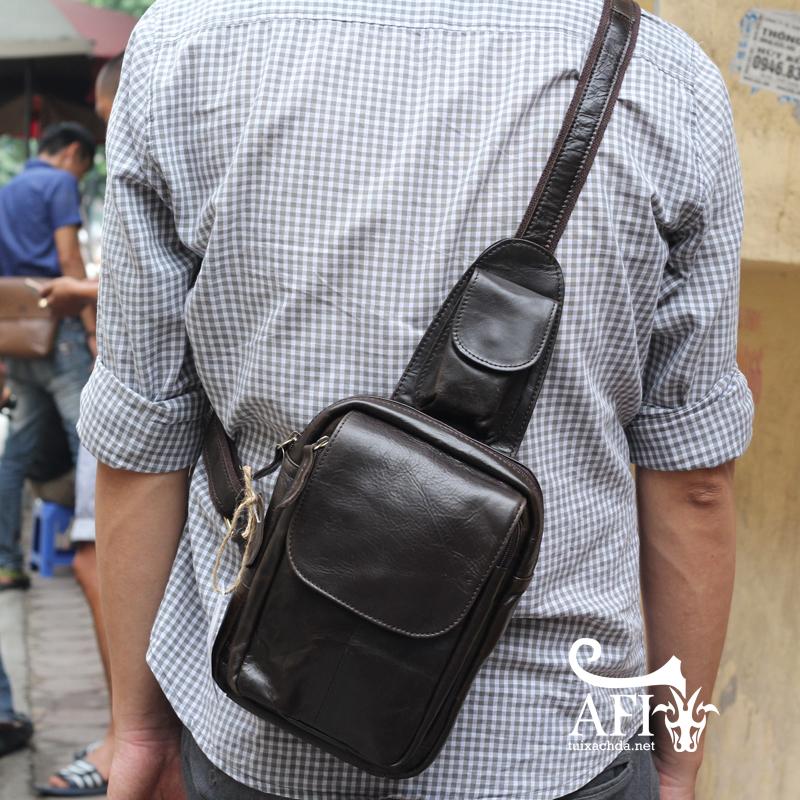 Túi đeo lưng nam thời trang da thật đựng iPad mini tdl10 đen 3