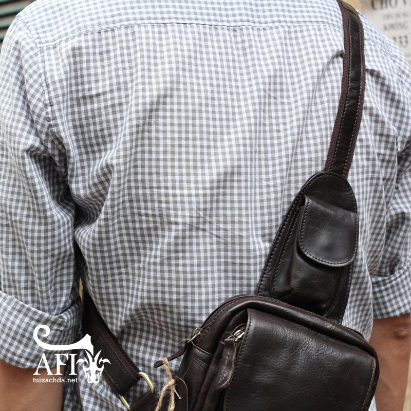 Túi đeo lưng nam thời trang da thật đựng iPad mini tdl10 đen 4