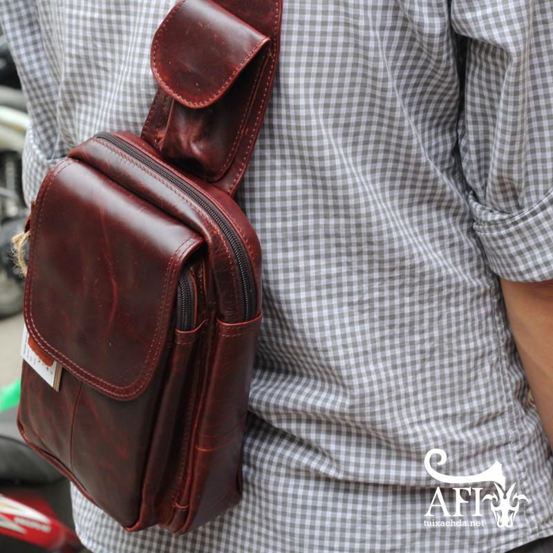 Túi đeo lưng nam thời trang da thật đựng iPad mini tdl10 nâu đỏ 1