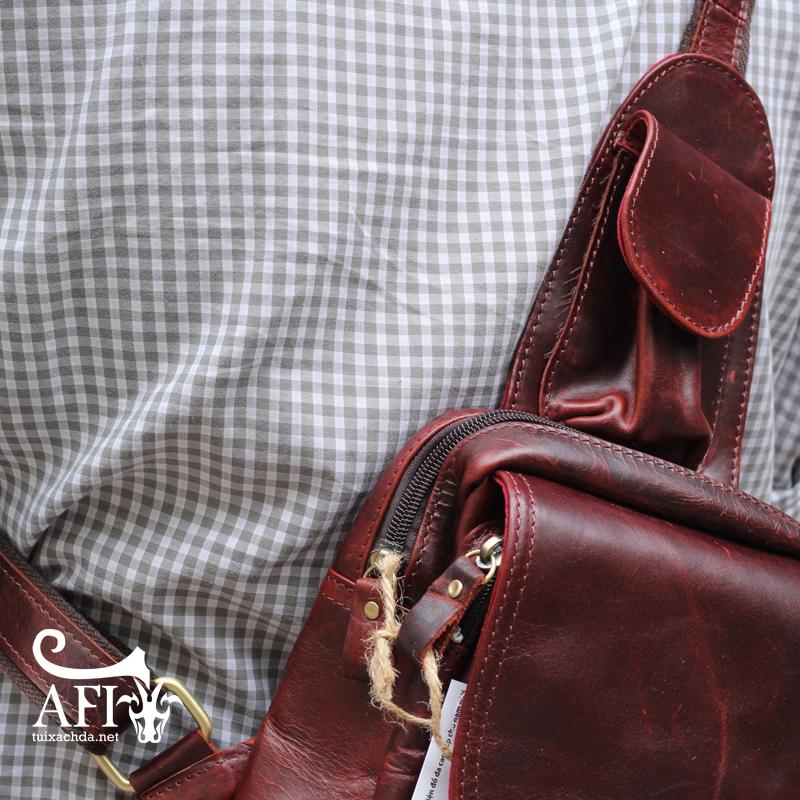 Túi đeo lưng nam thời trang da thật đựng iPad mini tdl10 nâu đỏ 3