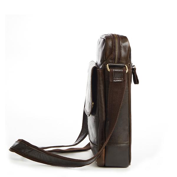 Túi xách nam da bò nguyên miếng dặn hộp đeo chéo KT52 thân túi
