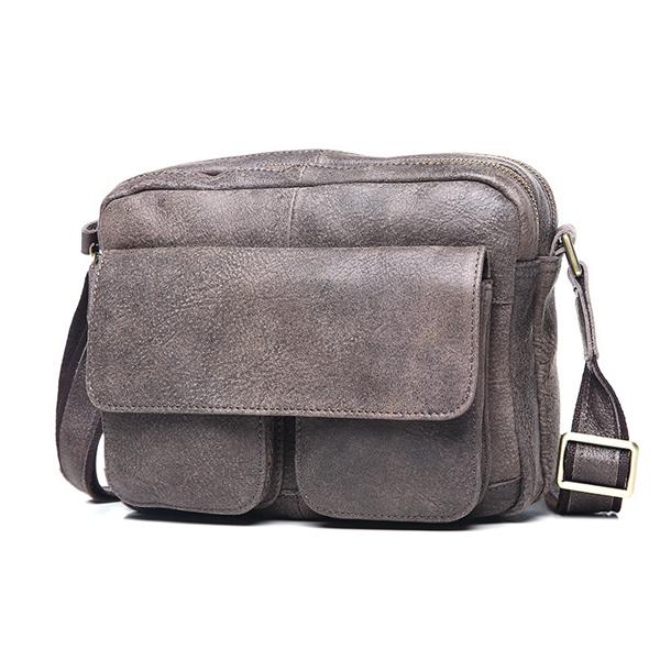 Túi ngang đựng iPad da bò miếng giá rẻ KT48 màu ghi