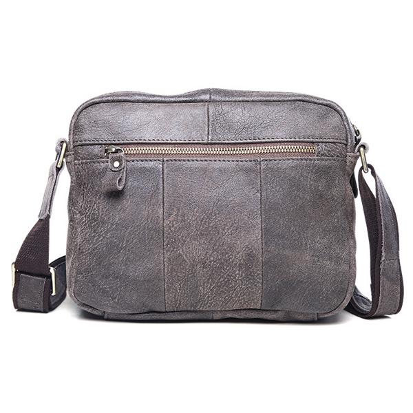 Túi ngang đựng iPad da bò miếng giá rẻ KT48 màu ghi mặt sau