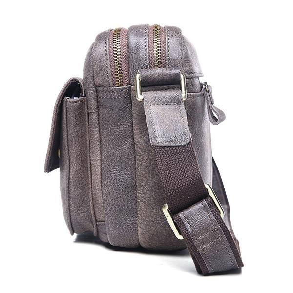 Túi ngang đựng iPad da bò miếng giá rẻ KT48 màu ghi thân túi