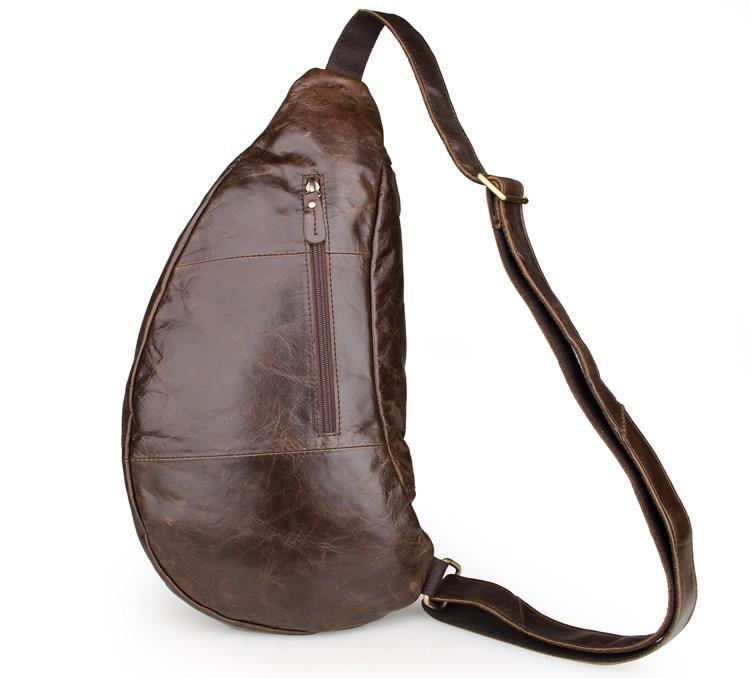 Túi đeo ngực nam da bò thật TDL18 mặt sau