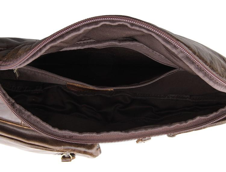 Túi đeo ngực nam da bò thật TDL18 bên trong