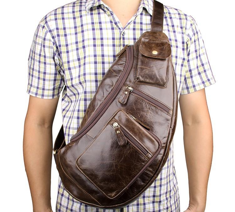 Túi đeo ngực nam da bò thật TDL18 đeo trước ngực