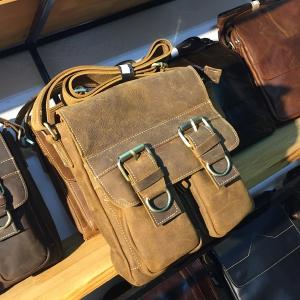 Túi đeo chéo nam công sở da bò thời trang nam tính KT54 nâu nhạt